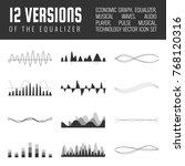 vector sound waves set. audio...   Shutterstock .eps vector #768120316