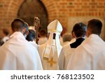 bishop goes to mass in the... | Shutterstock . vector #768123502