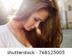 pretty brunette woman sensual... | Shutterstock . vector #768125005