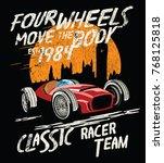 vector race car illustration    Shutterstock .eps vector #768125818