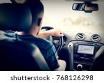 man driving car with built in... | Shutterstock . vector #768126298