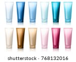 realistic tube. set of cosmetic ... | Shutterstock .eps vector #768132016