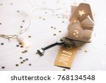 key to 2018 year. small toy...   Shutterstock . vector #768134548
