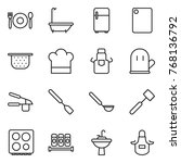thin line icon set   cafe  bath ... | Shutterstock .eps vector #768136792