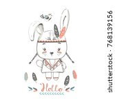 cute indian rabbit girl  in and ... | Shutterstock .eps vector #768139156