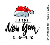 santa hat and happy new year... | Shutterstock .eps vector #768141262