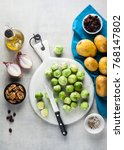 brussels sprout on a white... | Shutterstock . vector #768147802
