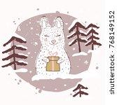 rabbit with gift box. winter... | Shutterstock .eps vector #768149152
