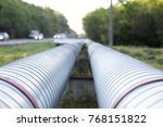 pipeline from metal pipes on... | Shutterstock . vector #768151822