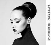 black and white fashion art... | Shutterstock . vector #768153196