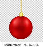 red christmas decor ball on... | Shutterstock .eps vector #768160816