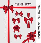 set of hand drawn bows.... | Shutterstock .eps vector #768169702