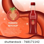 tomato ketchup in a glass... | Shutterstock .eps vector #768171142