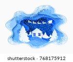 3d abstract paper cut... | Shutterstock .eps vector #768175912