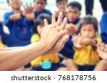 emergency training for children ...   Shutterstock . vector #768178756
