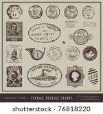 vector set  vintage postage... | Shutterstock .eps vector #76818220
