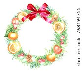 watercolor hand drawn christmas ... | Shutterstock . vector #768194755