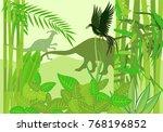 prehistoric wildlife scene ... | Shutterstock .eps vector #768196852