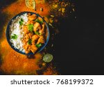 indian butter chicken with... | Shutterstock . vector #768199372