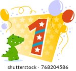happy one birthday card with... | Shutterstock .eps vector #768204586