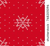 knitted snowflake seamless... | Shutterstock .eps vector #768205096