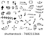 doodle vector arrows. isolated. ... | Shutterstock .eps vector #768211366