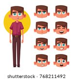 set of boy facial emotions.... | Shutterstock .eps vector #768211492