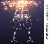 celebratory glasses background | Shutterstock .eps vector #768213478