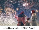 new year holiday. parents and... | Shutterstock . vector #768214678