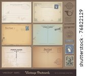 antique postcards   set of 6... | Shutterstock .eps vector #76822129