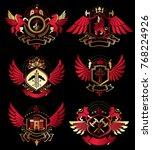 collection of vector heraldic... | Shutterstock .eps vector #768224926