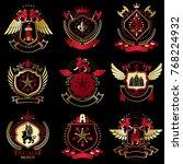 collection of vector heraldic... | Shutterstock .eps vector #768224932