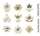 royal symbols  flowers  floral... | Shutterstock .eps vector #768241996