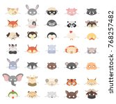 animal masks set for holidays... | Shutterstock .eps vector #768257482