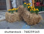 Flowers And Straw Bales