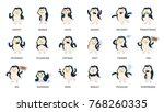 cartoon penguin stickers set... | Shutterstock .eps vector #768260335