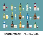 different alcohol drinks set... | Shutterstock .eps vector #768262936