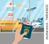 passport for airport in hand... | Shutterstock .eps vector #768263632