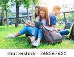 group of asian college student... | Shutterstock . vector #768267625