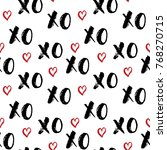XOXO brush lettering signs seamless pattern, Grunge calligraphiv c hugs and kisses Phrase, Internet slang abbreviation XOXO symbols, vector illustration isolated on white background