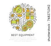 diving equipment hand draw... | Shutterstock .eps vector #768271342