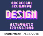 geometric font 3d effect design ... | Shutterstock .eps vector #768277048
