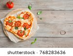 heart shaped pizza margherita... | Shutterstock . vector #768283636