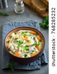 chicken  soup. homemade fresh... | Shutterstock . vector #768285232