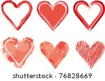 painted hearts raster image. | Shutterstock . vector #76828669