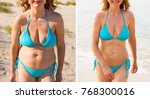 before and after weight loss | Shutterstock . vector #768300016