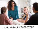 meeting at the office of a... | Shutterstock . vector #768307606