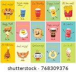 cartoon cards with funny food... | Shutterstock .eps vector #768309376