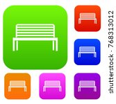 bench set icon in different... | Shutterstock . vector #768313012
