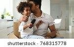 happy father and daughter and... | Shutterstock . vector #768315778